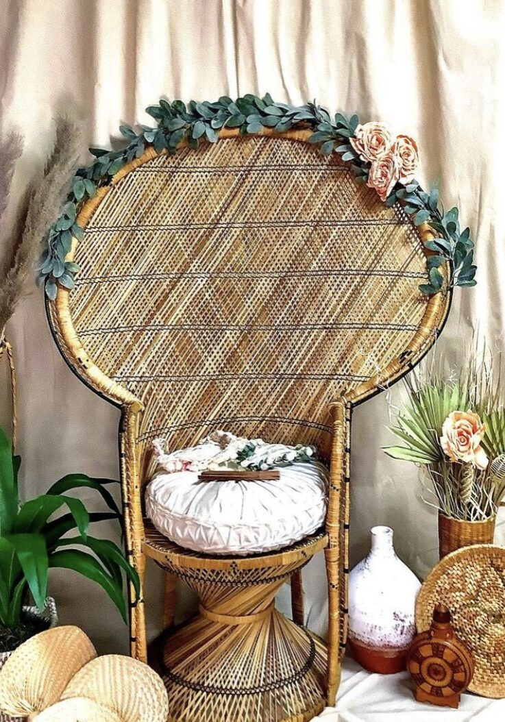 Muslin backdrop with peacock chair